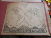 100% ORIGINAL LARGE WORLD HEMISPHERES  MAP BY JOHNSTON NATIONAL ATLAS C1857 VGC