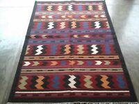 Hand-Woven Afghan Kilim Carpet Wool Traditional Kelim Area Rug 4x6 feet