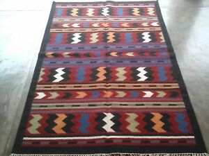 Hand-Woven Afghan Kilim Carpet Wool Traditional Kelim Area Rug 4x6 feet