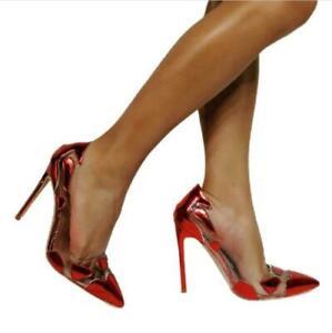 Womens High Stiletto Heel Slip On Pointy Toe Wedding Bridal Pumps Shoes Oversize