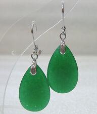 schöne ovale grüne Teardrop Jade Hochzeit Partei Schmuck Ohrringe