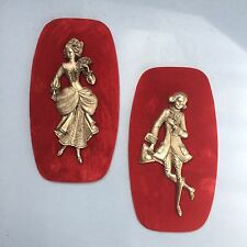 2 X Vintage Mid Century Peltro Italy Velvet & Pewter Picture Wall Hanging