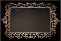 Vintage Hollywood Regency Ornate Gold Filigree Huge Mirrored Vanity Dresser Tray