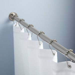 """48"""" STRAIGHT SOLID BRASS SHOWER CURTAIN ROD - CHROME"""
