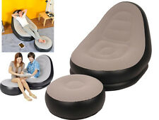 Inflatable Deluxe Lounge Lounger Chair With Ottoman Foot Stool Seat Relax Couch