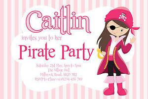 10 PERSONALISED GIRLS PIRATE PARTY BIRTHDAY INVITATIONS - PIRATE INVITES