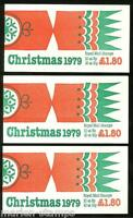 GREAT BRITAIN   LOT OF 3  1979 CHRISTMAS  COMPLETE BOOKLETS  MINT NH AS SHOWN
