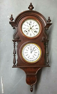 1890 Welch & Spring Co. 'Hanging Wagner 8 Day Double Dial Calendar Wall Clock