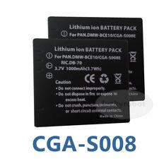 2x Cga-s008e Batería Para Panasonic Dmw-bce10e / Db70 Lumix Dmc-fx33 Fx55 Fx36