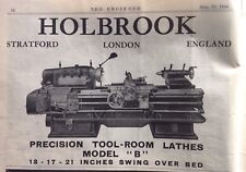 Holbrook, Precision Tool-Room Lathes, Stratford, London, 1944 Vintage Advert