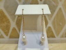JCM 10k yellow gold freshwater cultured pearl long dangle drop threader earrings