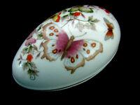 Vintage Avon Butterfly Fantasy Porcelain Treasure Egg 22K Gold Trim Trinket Box