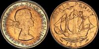 1967 GREAT BRITAIN HALF 1/2 PENNY ELIZABETH II TONED COIN IN HIGH GRADE