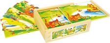Würfelpuzzle Tierspaß aus Holz 12 Klötze Holzrahmen Würfel-Puzzle Tiere Neu