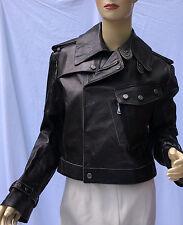 Ralph Lauren Black Label Leather Jacket Coat Womens 10 Smooth Biker