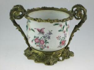 Antique Chinese 18th Century Ormolu Mounted Porcelain Bowl Circa 1760