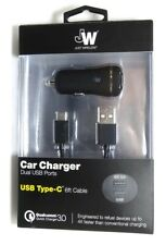 Just Wireless Dual USB Car charger with USB-C cable for Galaxy S10/S9, Pixel 4/3
