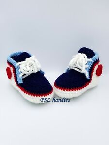 Hand knitted crochet baby booties blue, white, 4 US size acrylic girls boys