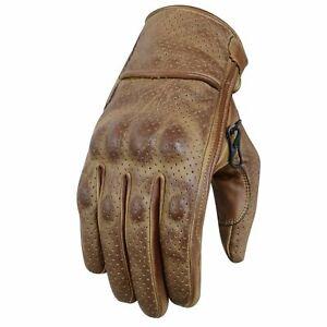 Gants de moto d'été, gants en cuir vintage, gants de motard, taille S-2XL
