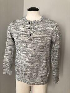 Banana Republic Mens Lightweight Cotton Space-dyed Grey Henley Sweater Medium