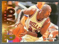 MICHAEL JORDAN, CHICAGO BULLS, TOTAL D, FLEER 95-96, CARD # 3 OF 12, GR 9-10