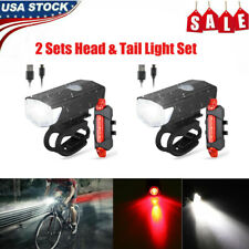 2 Set MTB Road Bike Cycling Front Light Bicycle LED USB Rechargeable Headlight