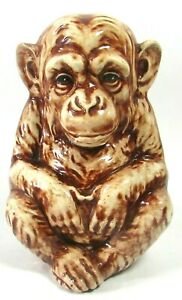 Vintage Goodsell # 233 Ceramic Coin Monkey Ape Bank Steepled Hands Confidence
