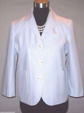 J Crew Jacket Sz 8 Blue & White Boyfriend Suit Dress Casual Cotton Blazer M