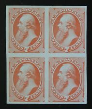1870 US 160P4 7c Seven Cents Stanton Stamp Block of 4 on India Paper Plate Proof