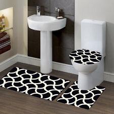 Geometric Design #7 Bathroom Bath Contour NonSlip Rug Mat Set & Toilet Lid Cover