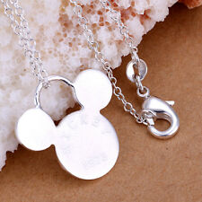 Mickey Mouse Icon 925 Sterling Silver Necklace/Pendant w/18 Inch Chain-GORGEOUS!
