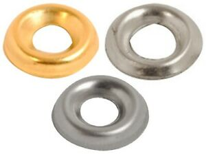 SCREW CUP WASHERS No6, 8, 10 COUNTERSUNK SCREWS Nickel / Brass / Stainless Steel