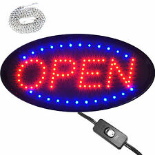 """19x10"""" Oval Led Open Shop Store Business Window Lighted Sign neon On/Off swich"""
