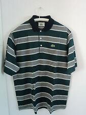 """""""Lacoste"""", Herren - Poloshirt, grün, weiße Querstreifen, Gr. L, Baumwolle"""
