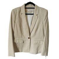 Calvin Klein Womens Suit Jacket Blazer Brown Stripe Long Sleeve Pockets 12 New