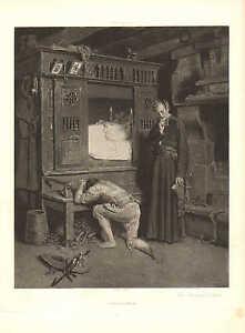 Mourning, The Prodigal's Return, by Henry Mosler, Vintage 1890 Antique Art Print