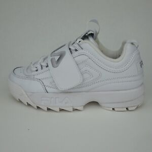 Womens FILA DISRUPTOR 2 APPLIQUE White Leather Trainers Size UK 5.5