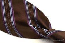 "ERMENEGILDO ZEGNA Brown Purple Striped 100% Silk Mens Luxury Tie - 3.625"""