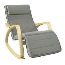 SoBuy® Relax Rocking Chair Lounge Chair with Footrest Grey Cushion,FST16-DG,UK