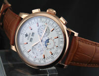 Ossna 42mm White Dial Moon Phase rose gold case Automatic Men's Watch 1608