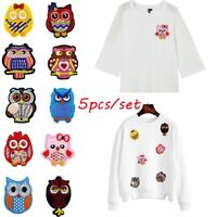 5Pcs DIY Cartoon Owl Patches Iron on for Clothes Stickers Fabric Applique Patch