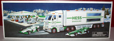 HESS TOY TRUCK & RACECARS W/REAL HEAD & TAIL LIGHTS MIB