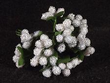Beaded Berries Stamens White Blue Floral Wedding Millinery Dolls Flower Crafts