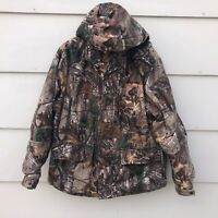 REALTREE Hunting Jacket Insulated Camouflage Camo  Soft Shell Mens Large Hood
