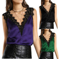 Womens Lace Vest Top Sleeveless Loose Tank Blouse Summer V-Neck Tops T-Shirt AU
