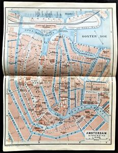 1910 ANTIQUE COLOR MAP - AMESTERDAM - STREET & RIVER DETAIL - 100% ORIGINAL