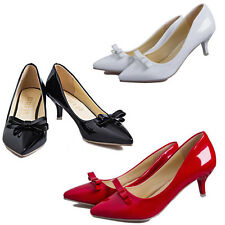New Women's Mid Heels Pointed Toe OL Wedding Bow Stilettos Patent Leather Shoes