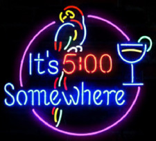 """New It's 5:00 500 Somewhere Parrot Cup Neon Light Sign 17""""x14 00004000 34; Beer Martini"""