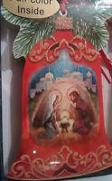 Holiday Xmas cards set LPG Bell shaped Glitter nativity Performing arts new