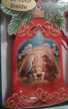 Holiday Xmas cards set LPG Bell shaped Glitter nativity Performing arts new